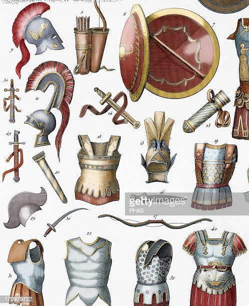 Roman army Armors and weaponry Colored engraving 19th century