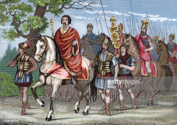 Roman Army Colored engraving 19th century