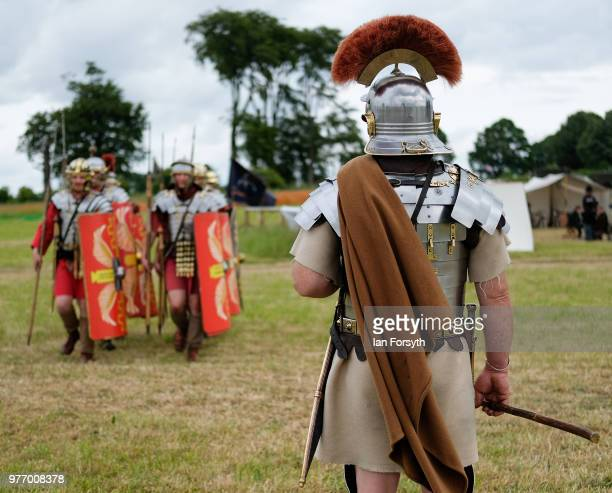 Roman Army reenactors practice their drill during the Frontline Sedgefield living history event on June 17 2018 in Durham England Depicting soldiers...