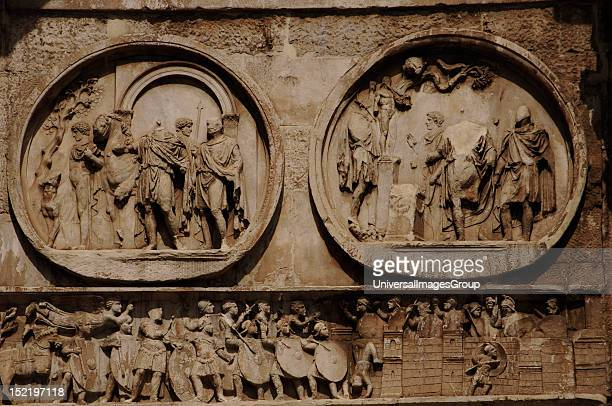Roman Art Arch of Constantine Triumphal arch erected in the 4th century by the Senate in honor of the Emperor Constantine after his victory over...