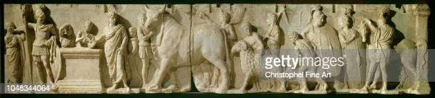 Roman Art Architectural relief called altar of domitius ahenobarbuscensus scene with a suovetaurile Louvre Museum