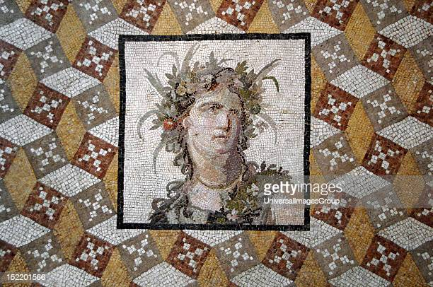 Roman Art Asia Minor Mosaic 2nd century Imperial Period It belongs to a house of Daphe In the middle is depicted a woman with a flower's crown in her...