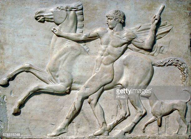 Roman art Basrelief Boy with a horse probably Castor taming his horse acompanied by a dog Found in the pantanella of Hadrian's Villa at Tivoli 125 AD...