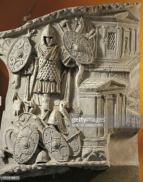 Roman Art Cast from the Trajan Column Detail of trophies of Dacian weapons