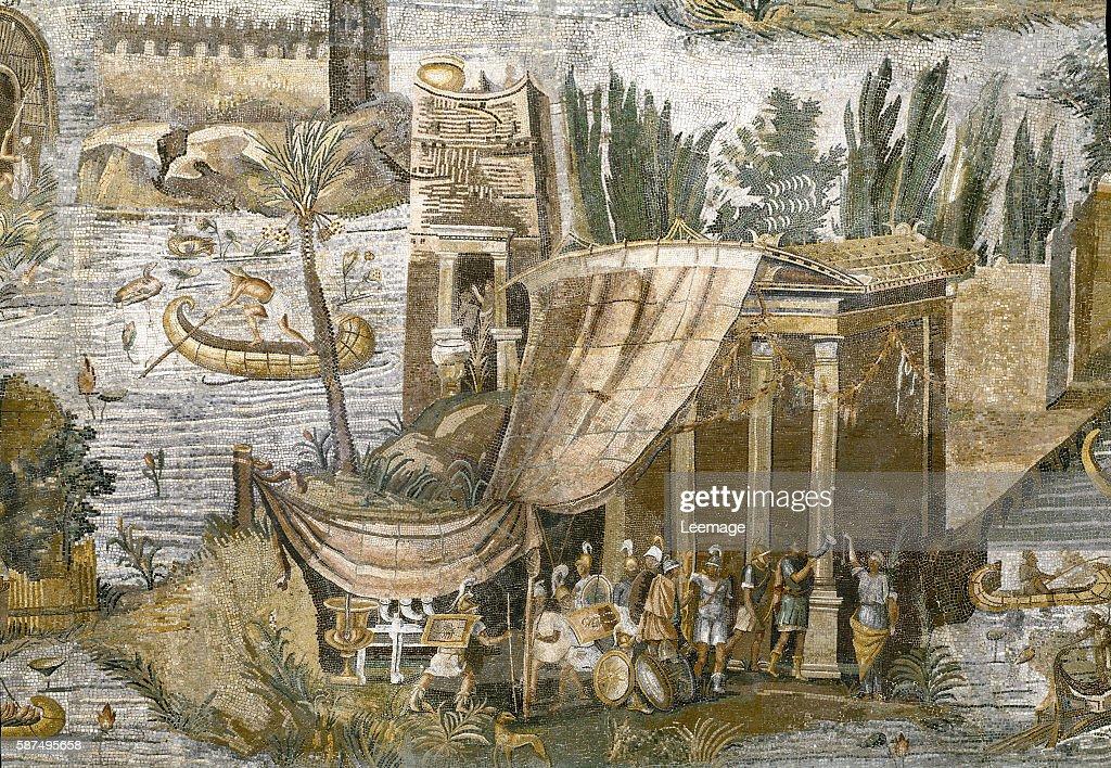 Roman Art : the Nile mosaic of Praeneste - detail : News Photo