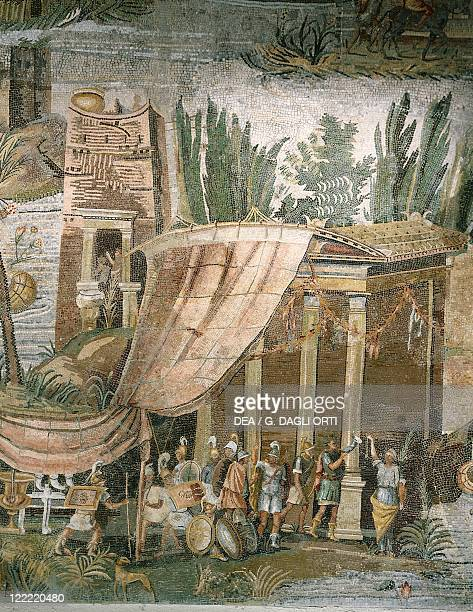 Roman Art First century BC Palestrina Mosaic from Sanctuary of Ancient Praeneste Detail with soldiers at temple