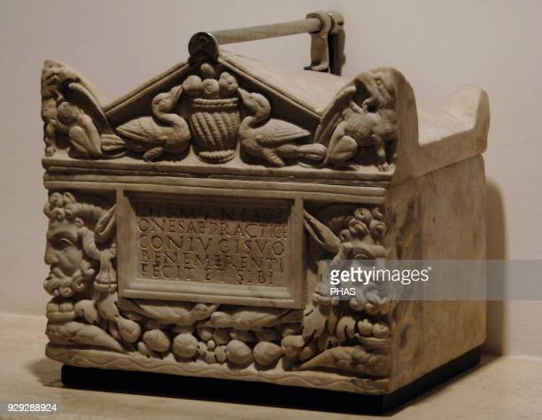 Roman art Funeral urn of two slaves Vigna Codini Rome Second half of 2nd century BC National Roman Museum Rome Italy