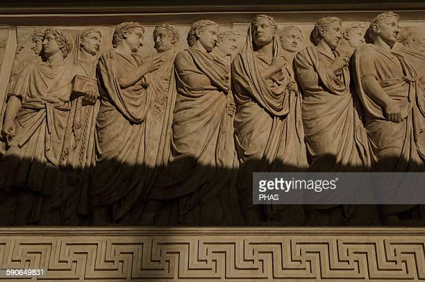 Roman Art Italy Ara Pacis Augustae Processional frieze Detail Relief Original North side Dated 13th century BC Museum of the Ara Pacis Rome Italy