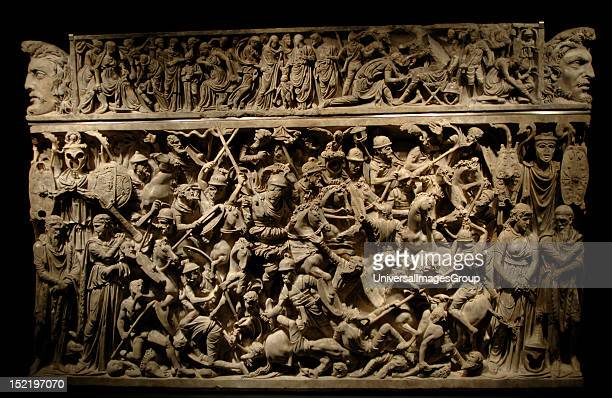 Roman Art Italy Portonaccio sarcophagus Dated in the 2nd century Tomb of a Roman general who participated in the German campaigns against Germanic...