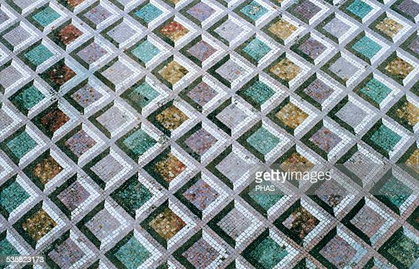 Roman Art Italy Roman Mosaic of polychrome geometric motifs Dated to 211 BC It comes from Lucus Feroniae Lazio