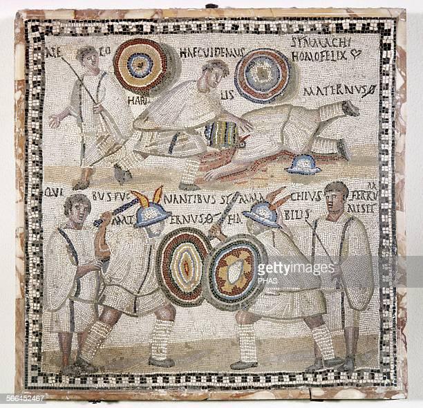 Roman art Mosaic 4th century Roman gladiator Thracians