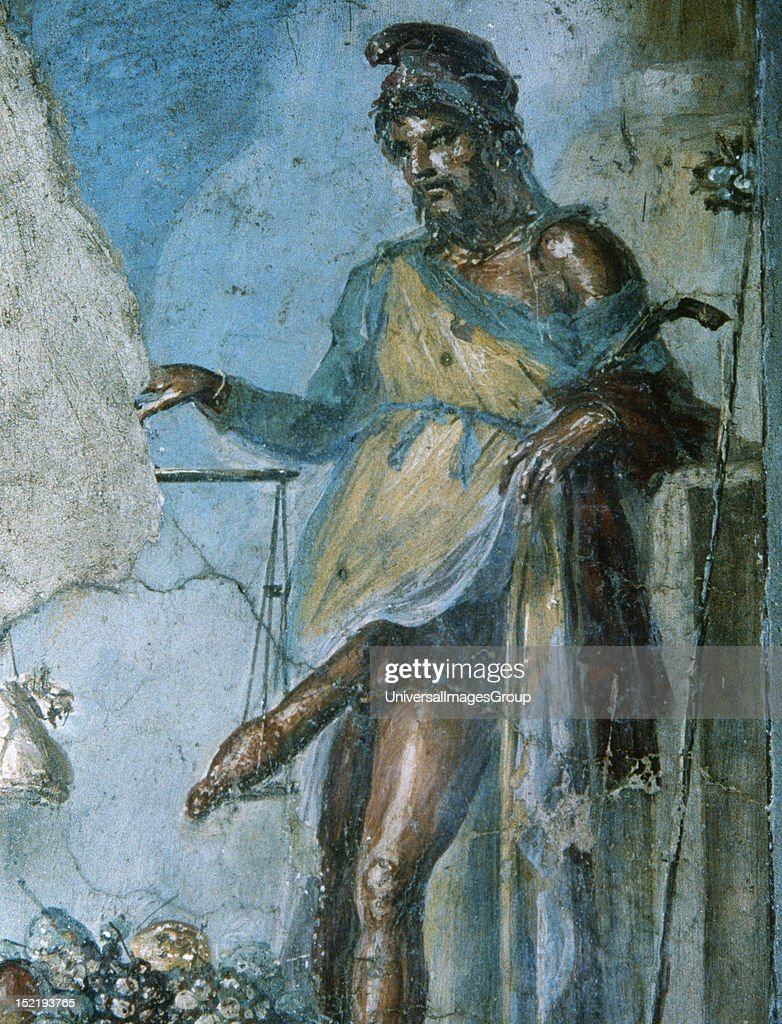Roman Art, Priapus, god of fertility, by weighing his penis ...