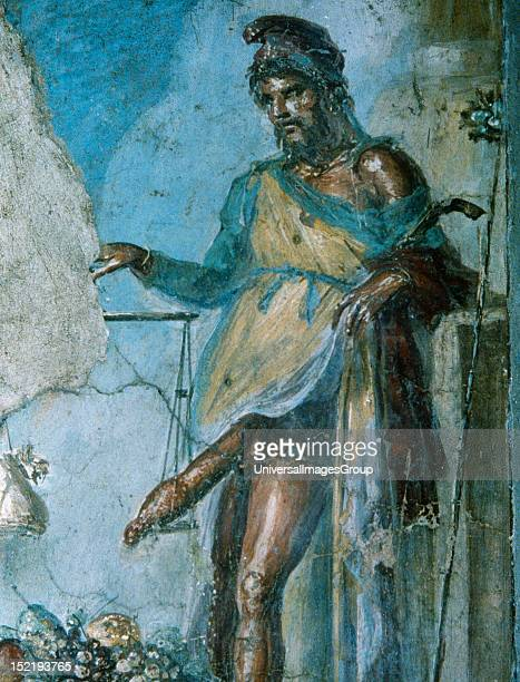 Roman Art Priapus god of fertility by weighing his penis with the scales and the fruits of their fields Fresco 1st century BC House of the Vetti...