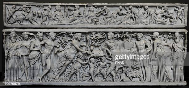 Roman Art Sarcophagus with Dionysus and Ariadne Marble C 200 AC From Vigna Casali Rome Carlsberg Glyptotek Museum Copenhagen Denmark