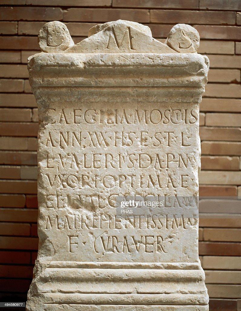 Roman Art. Spain. Altar stone. Inscription: Caecilia Moscichies. C. 2nd century AD. National Museum of Roman Art. Merida. Spain. : News Photo
