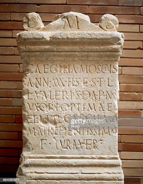Roman Art Spain Altar stone Inscription Caecilia Moscichies C 2nd century AD National Museum of Roman Art Merida Spain