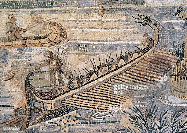 Roman Art. The Nile mosaic of Palestrina. Barberini mosaic or Nile's landscape. Hellenistic floor mosaic depicting scenes in the river Nile .It was...