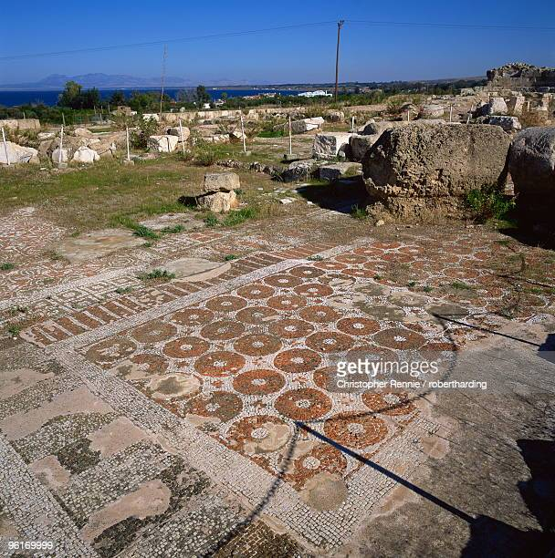 roman basilica with fine mosaics dating from the 5th century ad, soli, one of cyprus's ten ancient city kingdom, founded 6th century bc, northern cyprus, cyprus, europe - 6th century bc fotografías e imágenes de stock