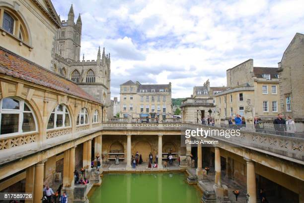 Roman Bath and Abbey Perpendicular Gothic in England