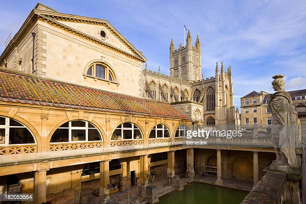 Roman Baths and the Bath Abbey in Bath England Somerset