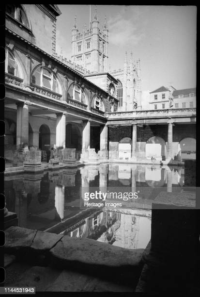 Roman Baths Museum Abbey Churchyard Bath Somerset circa 1955c1980 View of the Roman Baths taken from the southwest corner on the lower level with the...