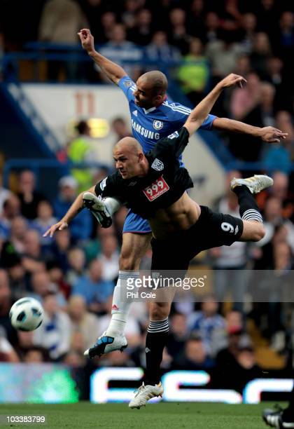 Roman Bednar of West Bromwich competes for the ball with Alex of Chelsea during the Barclays Premier League match between Chelsea and West Bromwich...