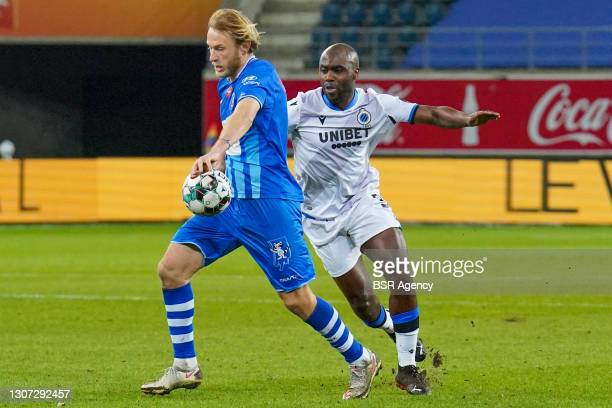 Roman Bezus of KAA Gent and Eder Balanta of Club Brugge during the Jupiler Pro League match between KAA Gent and Club Brugge KV at Ghelamco Arena on...