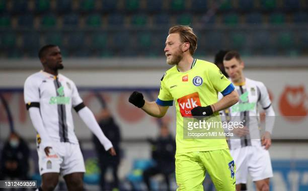 Roman Bezus of KAA Gent celebrates after scoring the 2-0 goal during the Jupiler Pro League match between KAA Gent and Sporting de Charleroi at...
