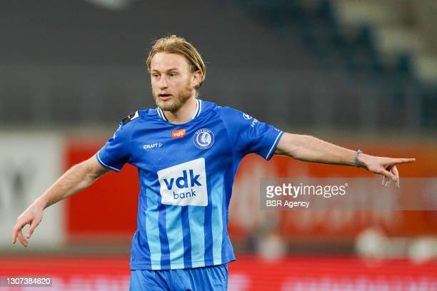 Roman Bezus of KAA Gent during the Jupiler Pro League match between KAA Gent and Club Brugge KV at Ghelamco Arena on March 15, 2021 in Gent, Belgium
