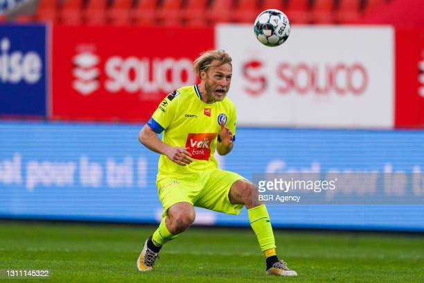 Roman Bezus of KAA Gent during the Jupiler Pro League match between Standard de Liege and KAA Gent at Stade Maurice Dufrasne on April 4, 2021 in...