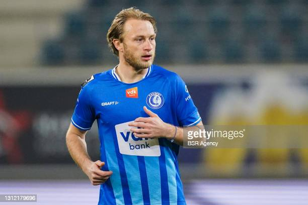 Roman Bezus of KAA Gent during the Jupiler Pro League match between KAA Gent and KV Oostende at Ghelamco Arena on March 8, 2021 in Gent, Belgium