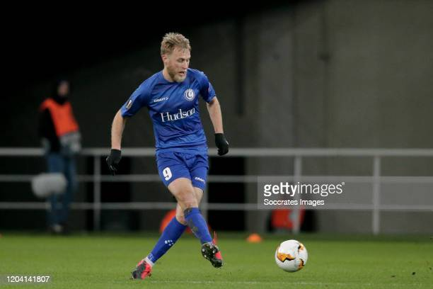 Roman Bezus of KAA Gent during the UEFA Europa League match between Gent v AS Roma at the Ghelamco Arena on February 27, 2020 in Gent Belgium