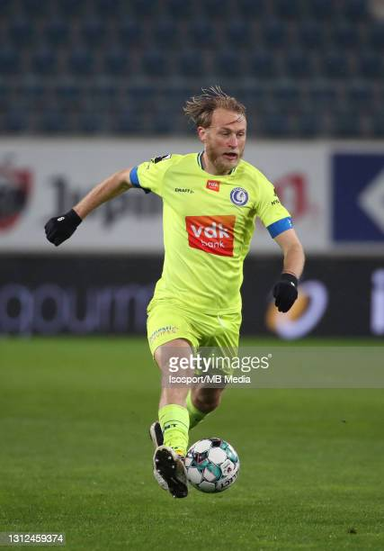 Roman Bezus of KAA Gent in action with the ball during the Jupiler Pro League match between KAA Gent and Sporting de Charleroi at Ghelamco Arena on...
