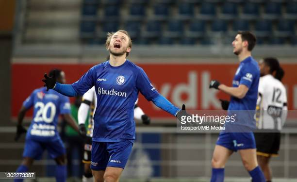 Roman Bezus of KAA Gent looks dejected during the Croky Cup 1/8 Final match between KAA Gent and Sporting de Charleroi at Ghelamco Arena on February...