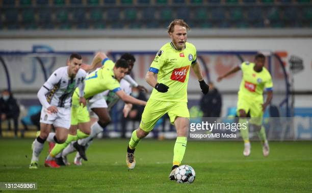 Roman Bezus of KAA Gent scores the 2-0 goal on penalty during the Jupiler Pro League match between KAA Gent and Sporting de Charleroi at Ghelamco...