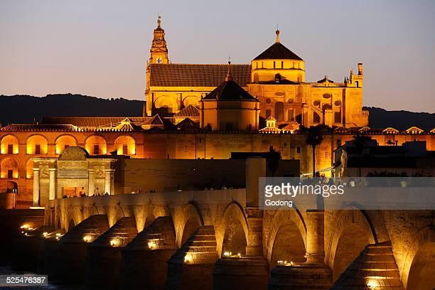 Roman bridge and Mezquita in Cordoba Andalusia at dusk