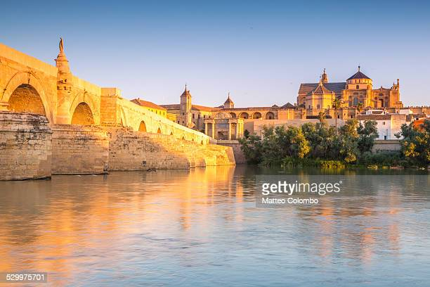 roman bridge and mosque of cordoba, spain - córdoba - fotografias e filmes do acervo