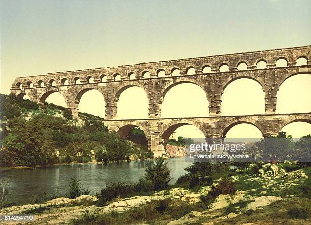 Roman Bridge over the Gard Constructed by Agrippa Nîmes France Photochrome Print circa 1900