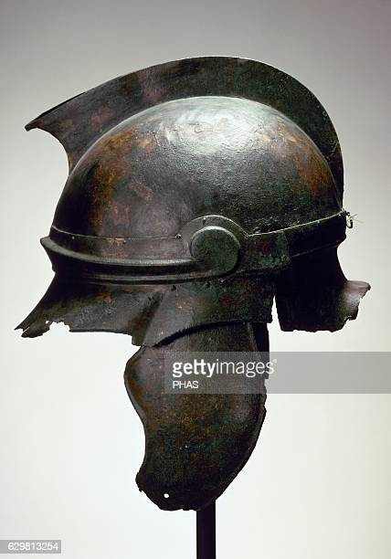 Roman bronze helmet National Archaeological Museum Madrid Spain