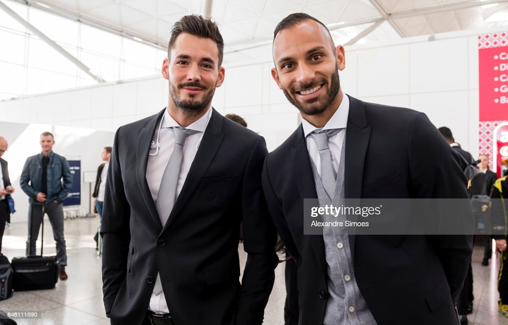 Roman Buerki and Oemer Toprak of Borussia Dortmund after landing in London for the UEFA Champions League: First Qualifying Round 1st Leg match between Tottenham Hotspur and Borussia Dortmund at London Airport on September 12, 2017 in London, England.
