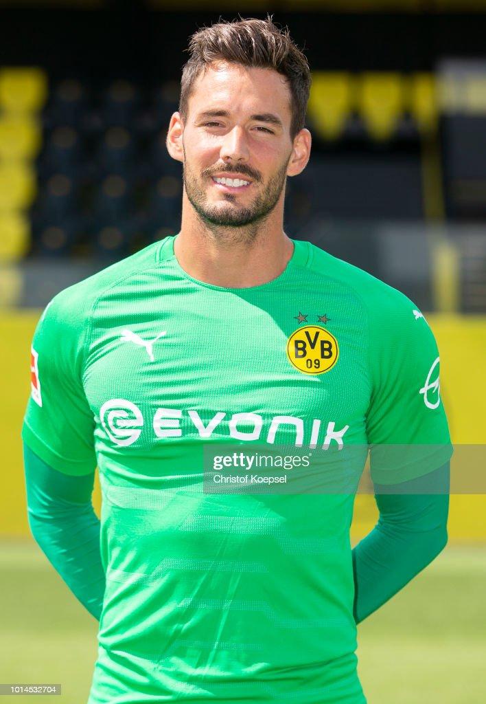 Roman Buerki of Borussia Dortmund looks on during the team presentation at Training Ground Brackel on August 10, 2018 in Dortmund, Germany.