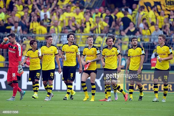Roman Buerki Shinji Kagawa Lukasz Piszczek Mats Hummels Marco Reus Marcel Schmelzer Sokratis Papastathopoulos and Matthias Ginter of Borussia...