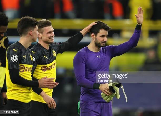 Roman Burki of Borussia Dortmund acknowledges the fans during the UEFA Champions League group F match between Borussia Dortmund and Slavia Praha at...