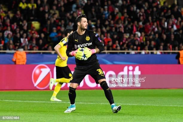 Roman Burki of Dortmund during the Uefa Champions League quarter final second leg match between As Monaco and Borussia Dortmund at Stade Louis II on...
