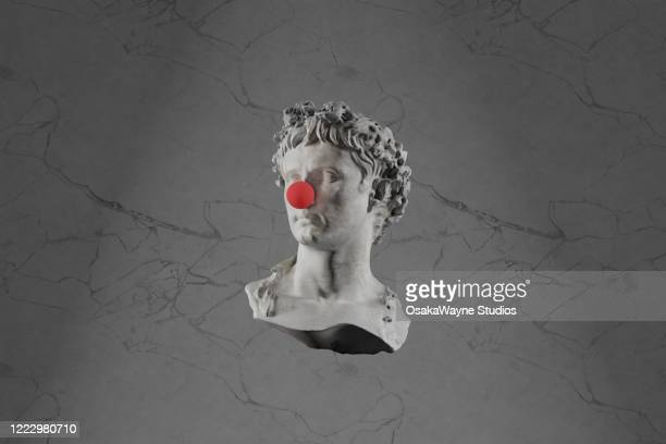 roman bust with clown nose - comedian stock pictures, royalty-free photos & images