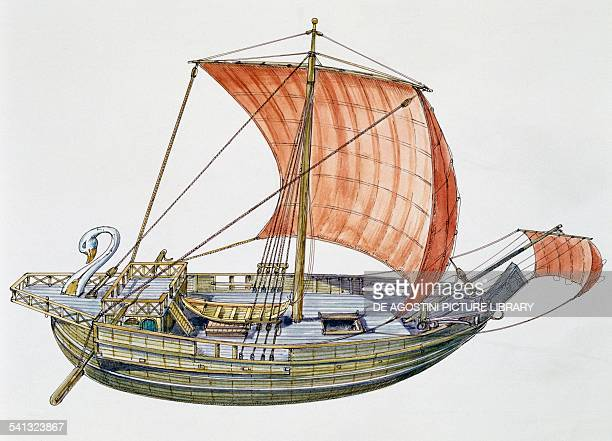 Roman cargo ship with square sail drawing Ostia Antica Lazio Italy Roman civilisation