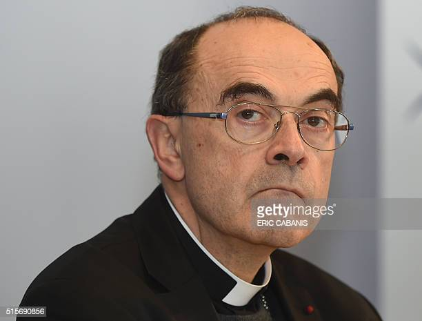 Roman Catholic Cardinal Philippe Barbarin Archbishop of Lyon looks on during the Conference of Bishops of France held at the Saint Bernadette...