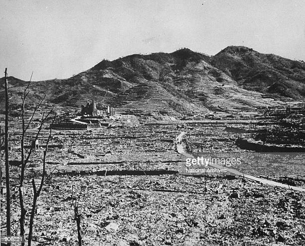 Roman Catholic cathedral stands in Nagasaki Japan after an atomic bomb was dropped August 8 1945