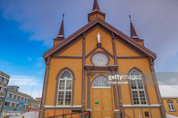 roman catholic church in tromso, norway - cathedral stock pictures, royalty-free photos & images