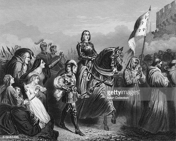 Roman Catholic saint Joan of Arc entering Orléans France 1429 From an original engraving by W Hulland after a painting by Henri Scheffer